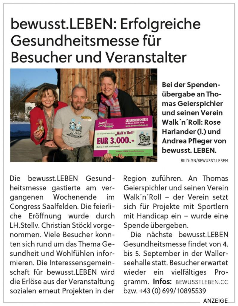 Spendenübergabe an Thomas Geierspichler